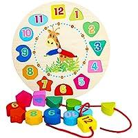 Newin Star Reloj de Aprendizaje,Reloj Puzzle,Juquete Educativo de Madero Juegos Infantil Aprender la Hora para Niños y Bebes
