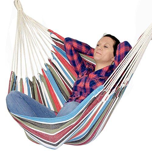 AMANKA Hängestuhl 110x145cm XL Hängesessel aus 100% Baumwolle | Hängesitz max. 150KG belastbar | tragbare waschbare Hängematte Bunte Streifen