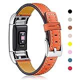 Mornex Fitbit Charge 2 echtes Leder-Armband, Unisex Ersatzband mit Metall Konnektoren für Fitbit Charge 2(5,5'-8,1')