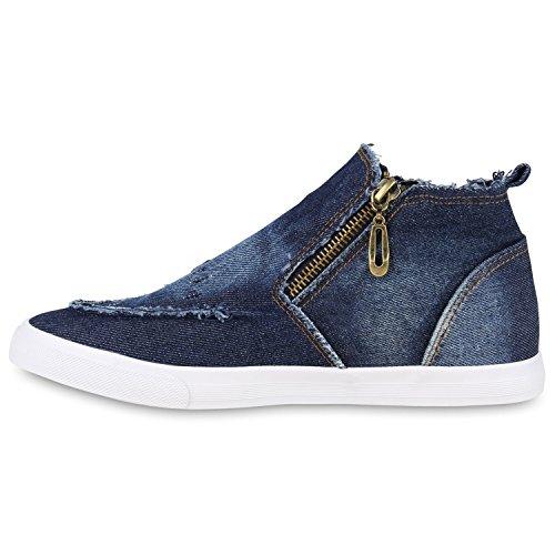 Damen Sneakers High Denim Turnschuhe Zipper Jeans Optik Dunkelblau