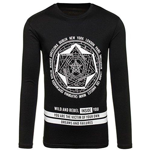 NiSeng Herren Casual Drucken Rundhalsausschnitt Langarm T-Shirt Schwarz
