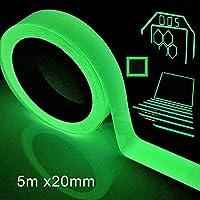 Yeestone Luminous Tape, 5m x 20mm Fluorescent Tapes, Waterproof Glow in The Dark Self-Adhesive Tape Warning Tape Stage Supplies Wall Decorative Sticker Green Light