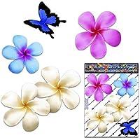 Frangipani Plumeria Kleine mehrfarbige Doppel Blume + Schmetterling Tier Pack Auto Aufkleber - ST00024MC_SML - JAS Aufkleber