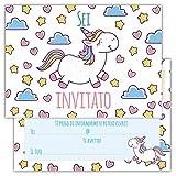 Partycards Set di 12 inviti Compleanno Biglietti invito per Festa Compleanno per Bambini e Adulti in Italiano - Motivo Unicorno