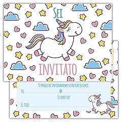 Idea Regalo - Partycards Set di 12 inviti Compleanno Biglietti invito per Festa Compleanno per Bambini e Adulti in Italiano - Motivo Unicorno