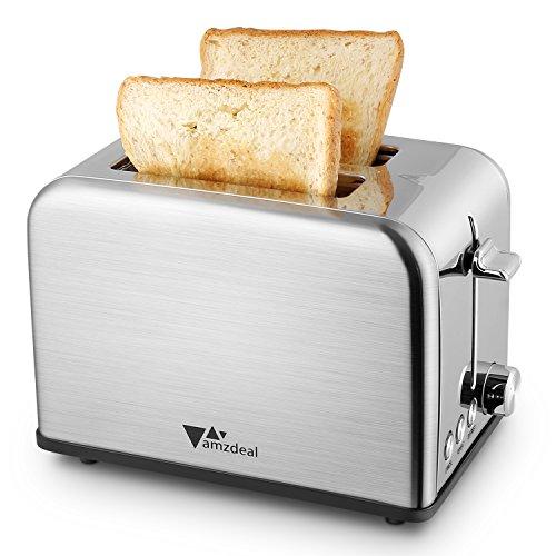 Amzdeal Grille-pains en Inox à 2 Fentes Longues, Toaster Pain avec 6 Niveaux de Brunissage Réglable et Tiroir de Miettes Amovible, 850W, Argent