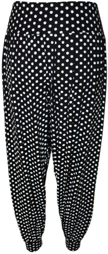Womens Plus Size Motivo Stampato Pantaloni Harem Pantaloni lunghi da donna–12–26–- Black Spot