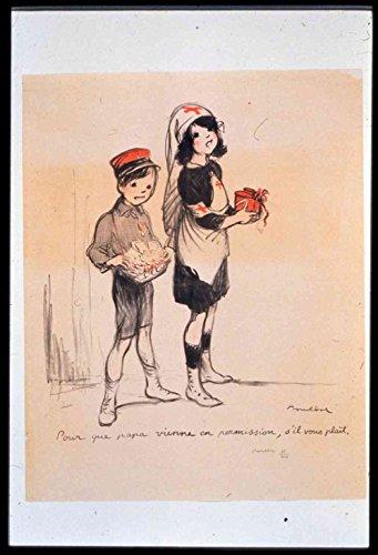 Das Museum Outlet-Vintage-Jungen und Mädchen-Leinwanddruck Online kaufen (101,6x 127cm)