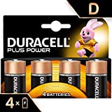 Duracell Plus Power Piles Alcalines type D, Lot de 4 piles