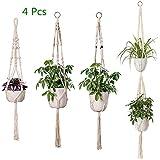 Freeas 4 Stück Makramee Blumenampel, Handgemachtes Baumwollseil Blumentopf Pflanzen Halter Innen- und Außendekoration für Haus und Garten