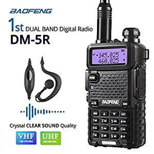 Baofeng DM-5R Dual Band DMR Digital Radio Walkie Talkie, VHF / UHF 136-174 / 400-480MHz Two-Way Radio Transceiver, Ultra-long Working & Standby Time, with 21cm Antenna, Black