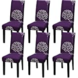 YISUN Universal Stretch Stuhlhussen 4er 6er Set Stuhlbezug für Stuhl Esszimmer (6er Set, Lila)