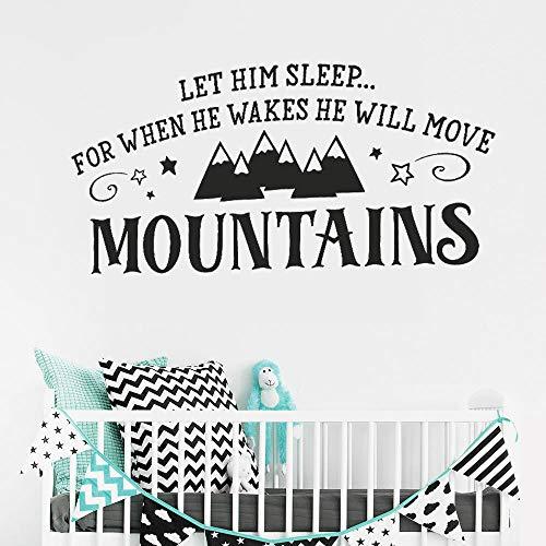 yiyiyaya Art Decor Lassen Sie ihn schlafen wenn er aufwacht. Er Wird Berge versetzen. Vinyl-Wandaufkleber für Kinder Kinderzimmer Kaffee 117 x 58 cm