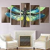 wangchengp 5 Panel Wandkunst HD Print Libelle Leinwand Wandkunst Malerei Wohnkultur Kunstdruck Malerei für Wohnzimmer Decor Geschenk150cm(B) x 100cm(H)