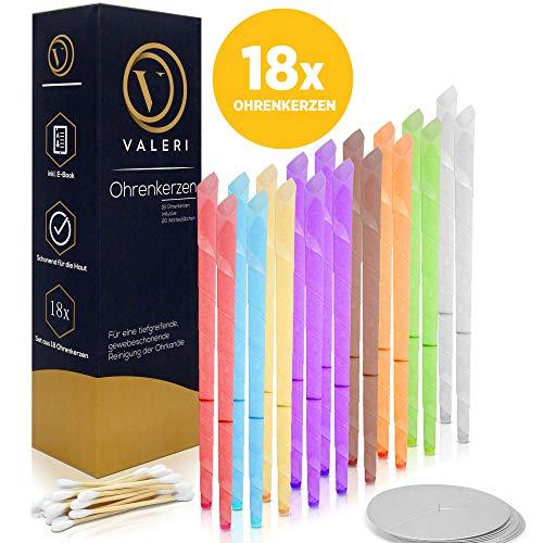 Valeri ® Ohrenkerzen - [18x] Ohrkerzen zur Entspannung und Reinigung der Ohren. Acht verschiedene Farben mit sehr angenehmem Duft - Inkl. Schutzscheiben und 20 Wattestäbchen