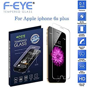 F-EYE® Tempered Glass Apple iPhone 6s Plus, World's thinnest 0.1 mm Screen Protector with Superb flexibility , 2.5D Round Edge, 9H Hardness, Made From Real Iphone Tempered Glass, Shatterproof, Anti-Scratch Bubble-free, Oleophobic Coating, Safety Packing And Easy To Install In Your Smart Phone [Apple iPhone 6s Plus]