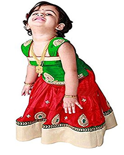 Najara Fashion Red Green cemric cotton baby girls lehenga choli