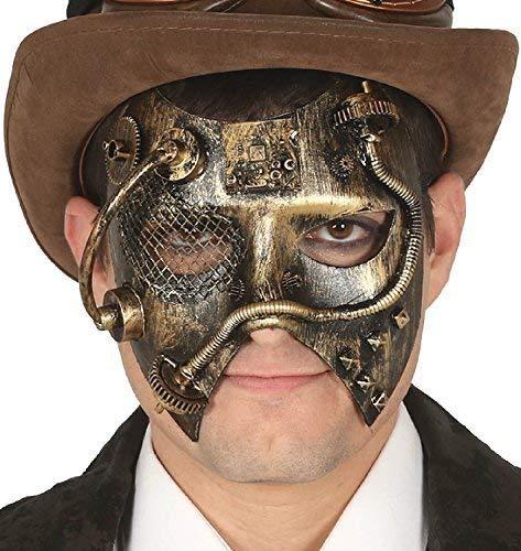 Fancy Me Damen Herren Steampunk gelbgolden WILD Westen Viktorianisch Erfinder Maskerade Karneval Halloween Kostüm Kleid Outfit Augen Maske