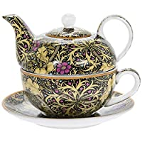 The Leonardo Collection William Morris Seaweed Tea For One Fine China Cup Saucer & Teapot Set
