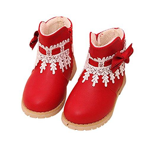 chen Schnee Schuhe Mädchen Princes Spitze Blumen Schleife Stiefel Winter Warm Boot Schwarz Rot (Rote Blumen-mädchen-schuhe)