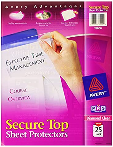 Secure Top Sheet Protectors, Heavy Gauge, Letter, Diamond Clear, 25/Pack