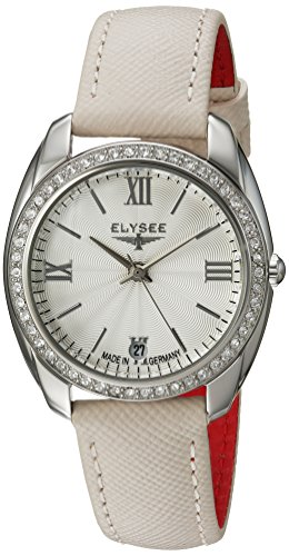 ELYSEE Women's Diana 32mm Cream Leather Band Steel Case Quartz Silver-Tone Dial Analog Watch 28600
