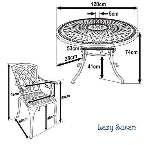Lazy Susan – ALICE 120 cm Runder Gartentisch - 7