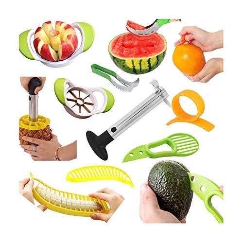 Cocina Cortadores para fruta - Cortador de Sandía Melón - Cortapiñas - Cortador de manzanas - Cortador de aguacate 3 en 1 - Banana Cutter - Pelador de cítricos