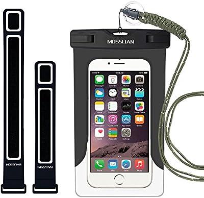 MOSSLIAN Funda Impermeable Móvil Universal con Brazalete para iPhone 7/6/6s Plus/5/5s Certificado IPX8 Resistente al Polvo, Lluvia, Nieve y Aceite, Ideal para Esquiar, Nadar, Pescar, Lavar y Cocinar