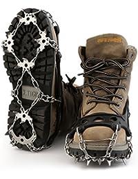 Schuh Spikes Silikon Schneeketten OUTAD Grödel Schuh-Spikes Schuh-Krallen Überzieher 18 Zähne Edelstahl Steigeisen Anti Rutsch Spikes für High Altitude Wandern Eis Schnee