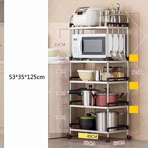 MAIKA HOME Boden Küche Liefert Lagerung Regale/Lagerregal/Küchenregal/201  Edelstahl Mikrowelle (Größe: 53 * 35 * 125cm)
