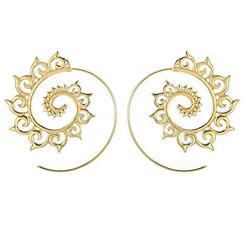 YEARNLY Golden Farbe Runde Spirale Tropfen Ohrringe Übertriebene Liebe Herz Whirlpool Gear Ohrringe für Frauen Schmuck