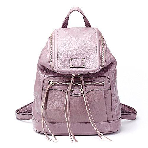 Mefly Onorevoli Vera Pelle Borsa A Tracolla Per Donna Colore Puro Grande Capacità Benna Bag Black Purple lotus
