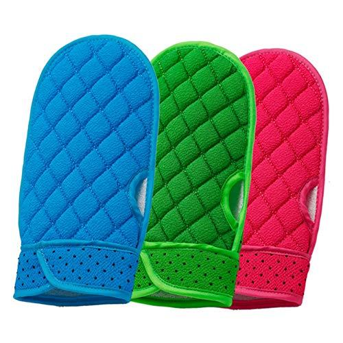 3 Paket Bad Gel Pinsel Schaum Bad Ball Siamesische Bade Handschuhe Dead Skins Cell Remover Entfernen Sie abgestorbene Haut Bath Body Scrub Mi (Farbe : Green+red+Blue) -
