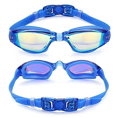 Cardana Unisex Training Wettkampf Schwimmbrille Junior (Anti-Fog, Harte Gläser) (Blau) (Schwimmbrille Junior)