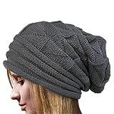 Vovotrade ❀❀ Femmes Crochet Chapeau Laine Bonnet Tricot Hiver Automne Chaude Chapeaux (Gris)