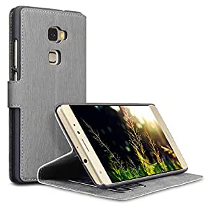 Huawei Mate S Covers, Terrapin [Stand Feature] [Ultra Low Profile] Huawei Mate S Case Wallet [Grey] Premium Wallet Case with STAND Flip Cover for Huawei Mate S - Grey