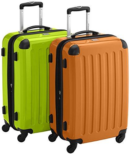 HAUPTSTADTKOFFER - Alex - 2er Koffer-Set Hartschale glänzend, 65 cm, 74 Liter, Graphit-Schwarz Apfelgrün-Orange