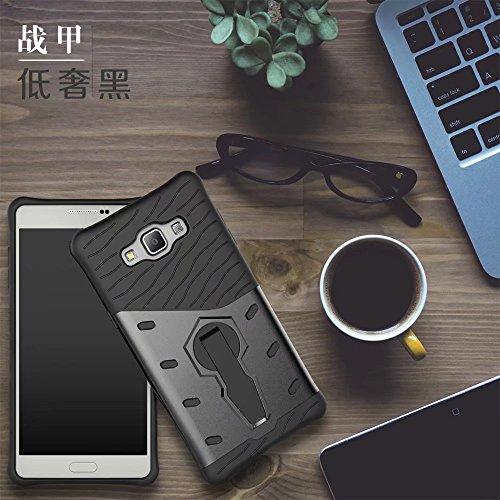 YHUISEN Galaxy A7 Case, Hybrid Tough Rugged Dual Layer Rüstung Schild Schützende Shockproof mit 360 Grad Einstellung Kickstand Case Cover für Samsung Galaxy A7 2015 ( Color : Black ) Black