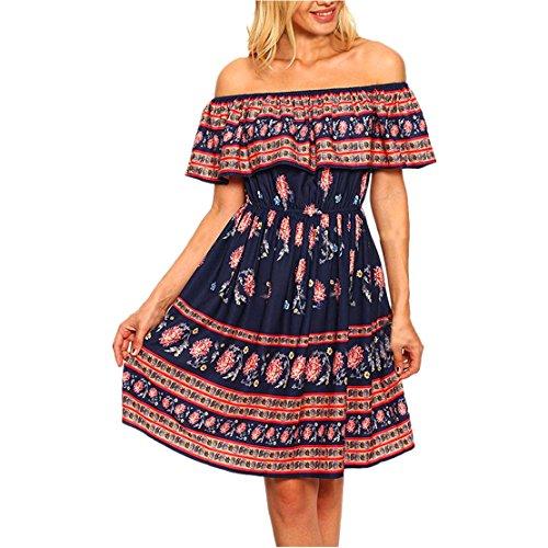 Mode Frauen Sommer Minikleid Aus Schulter Sundress Blumen gedruckt Abendkleid Damen Casual Strandkleid Festlich PartyKleid (XL, (Kostüme Mädchen Stadt Party)