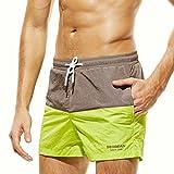 GreatestPAK Atmungsaktive Shorts Herren Schlanke Kleidung Farbnähende Hosen Trunks Bademode Strand,Grün,XL