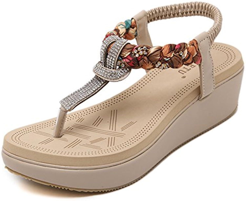 GUOCU Damen Sommer Sandalen Böhmischer Stil Absätz Schuhe Sandalen Antirutsch Komfortabel Frauen Flip Flops Schuhe