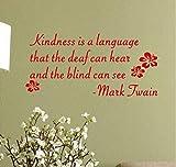 """Adesivi Murali 3Dmark Twain """"La Gentilezza È Una Lingua"""". Parole Di Incoraggiamento Che Dicono Sticker Wall Art Vinyl Citazioni 70X33Cm"""