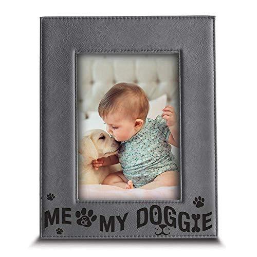 Bella Busta Bilderrahmen mit Aufschrift Me and My Doggie, für Hundeliebhaber, Leder, mit Gravur 5