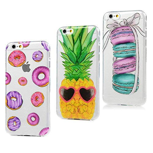 MAXFE.CO 3X Coque pour iPhone 6S/iPhone 6 Silicone Gel TPU Protection Original Motif Mat Case Cover Coque pour iPhone 6S/iPhone 6 Donuts + Ananas + Macaron