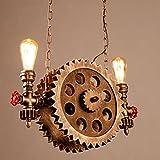 Schmiedeeiserne Lampe Die Kette Verstellbare Getriebe - Lampe Kreative Amerikanische Retro - Industrie Das Restaurant Café BAR Kronleuchter Messing 110-240V E27*2 55*132CM (keine Glühbirnen)