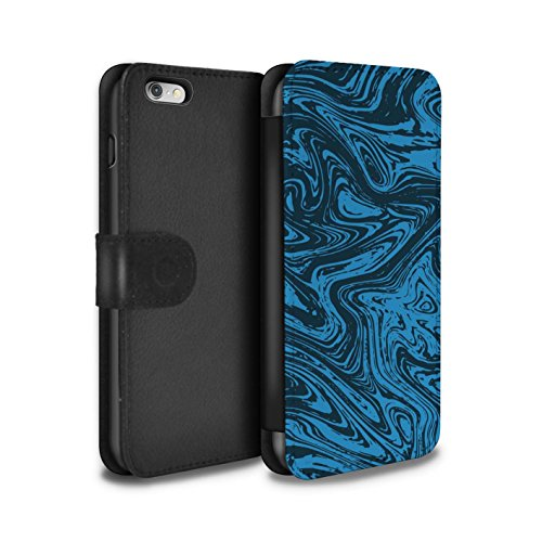 Stuff4 Coque/Etui/Housse Cuir PU Case/Cover pour Apple iPhone 6S+/Plus / Rouge/Rose Design / Effet Métal Liquide Fondu Collection Bleu