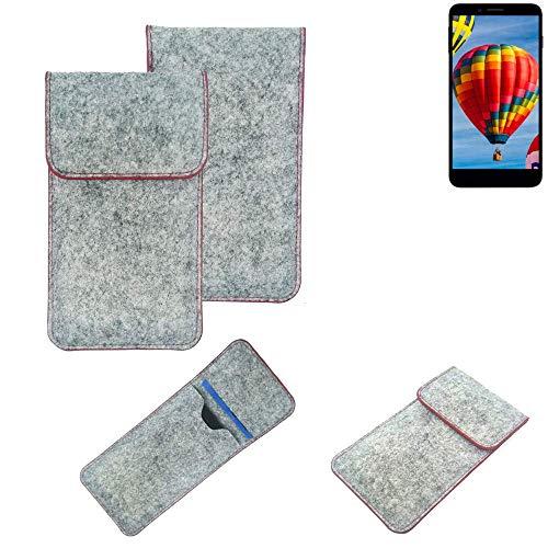 K-S-Trade® Filz Schutz Hülle Für Vestel V3 5030 Schutzhülle Filztasche Pouch Tasche Case Sleeve Handyhülle Filzhülle Hellgrau Roter Rand