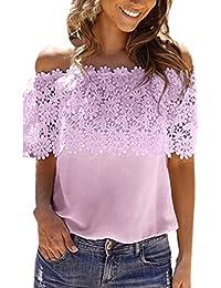 Mujer Blusa,Sonnena ❤️ ❤️ Sexy off hombro impresión hueca de encaje blusa sin manga con tirantes para elegante mujer casual moda blusa de verano fresco para citas al aire libre