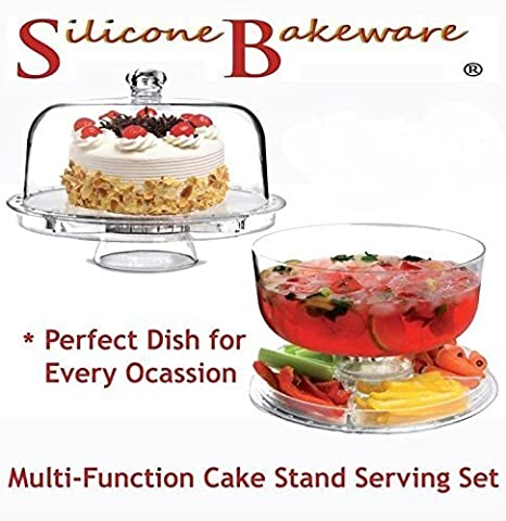 Silicone Bakeware Multi-Function Cake Stand with Dome Lid/Chip and Dip Platter/Punch Bowl/Salad Bowl, Clear, 30